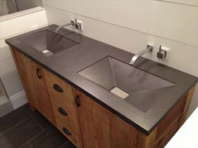 Charcoal Gray Bathroom Concrete Vanity
