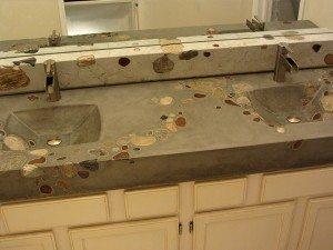 Natural Concrete Bath Vanity with Large Stones
