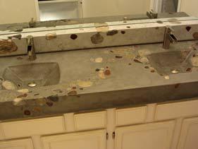 Natural Concrete Bath Vanity with Large Stones