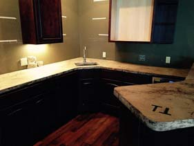 White and Dark Brown Travertine Veined Kitchen Counter Top