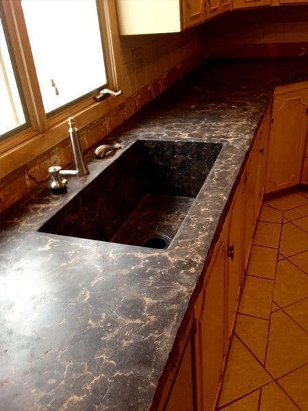 Dark Black Concrete Counter Top Veins Pressed Look