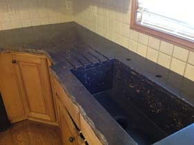 Rock Face Kitchen Concrete Counter Sink and Drain