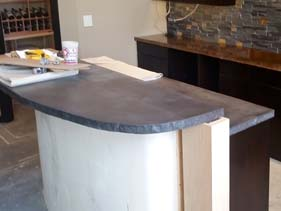 Gray Residential Concrete Bar Top Edge Detail