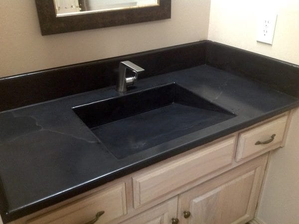Concrete Bath Vanity Top In Midnight Black Integral Sink