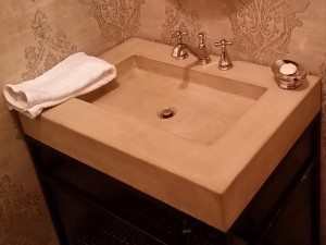 Tan Concrete Bath Vanity with Shallow Sink