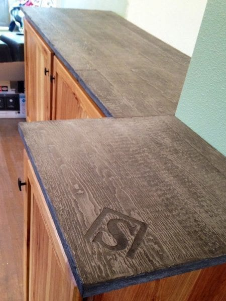 Brown Wood Grain Concrete Counter Top With Logo