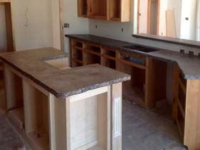 Two Tone Kitchen Travertine Concrete Counter Tops