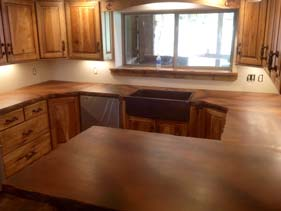 Brown Stained Concrete Kitchen Counters