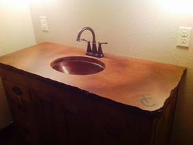 Orange and Brown Stained Concrete Bath Vanity Top