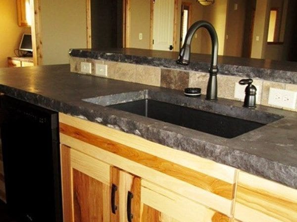 Rock Face Gray Concrete Kitchen Counter