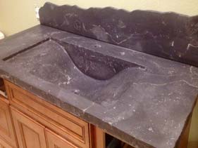 Grey Veined Concrete Bath Vanity Curved Integral Sink