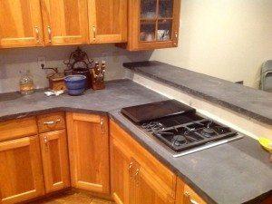 Dark Gray Concrete Kitchen Counter Top Veins