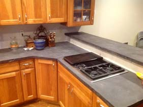Dark Gray Concrete Kitchen Counter Top Veins