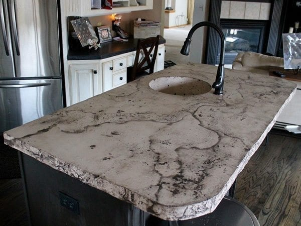 Cream Oreo Colored Veined Concrete Kitchen Island Top