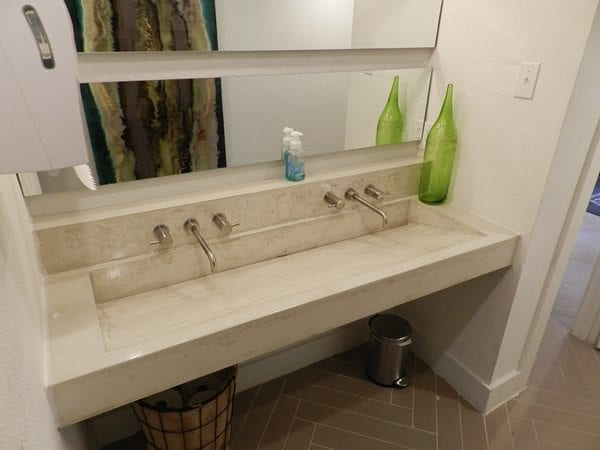 Natural White Concrete Bathroom Bath Vanity