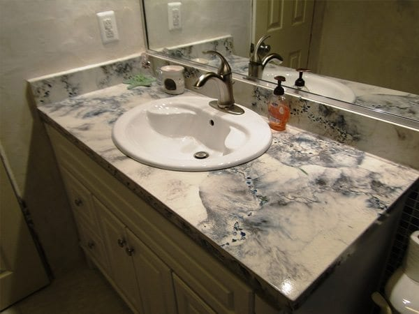 Black and White Veined Concrete Bathroom Top