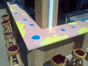 Multi-Colored Concrete Outdoor Patio Bar Top