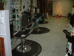 Grey and White Retail Salon Epoxy Flake Floor
