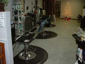 Grey and White Retail Salon Epoxy Flake Floor