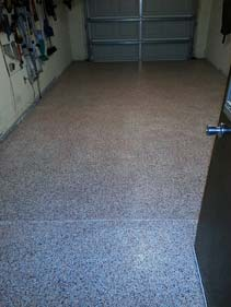 Tan Black and White Epoxy Flake Garage Floor