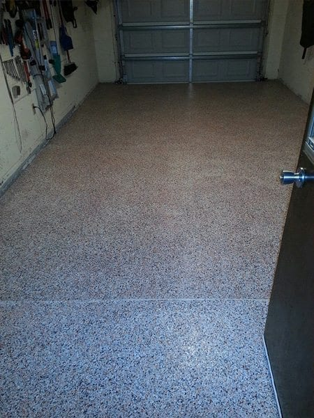 Tan Black White Epoxy Flake Garage Floor Using Surecrete
