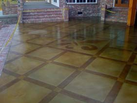 Beige and Brown Stained Tile Pattern Concrete Floor