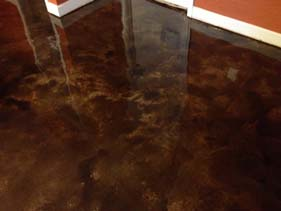 Brown and Tan Varied Concrete Stain for Residential Concrete Floor