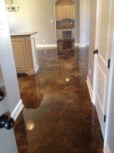 Brown Acid Stained Hallway Concrete Floor