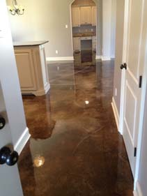 Two Tone Brown Acid Stained Hallway Concrete Floor