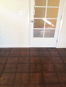 Outdoor Dark Brown Tile Pattern Concrete Stain