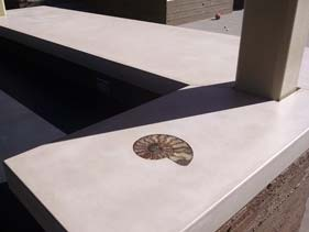 White Concrete Countertop with Sea Shell Inlay