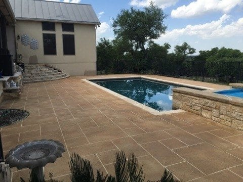 Pool Deck Concrete Overlay Brown Stain