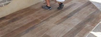Wood Looking Concrete Overlay – Faux Brick – Thin Flagstone Tape Pattern