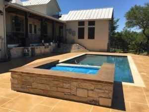 Finished Hot Tub and Pool Deck Sealedpooldeck-brown-stain-tape-pattern