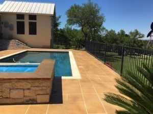 pool deck-hot tube concrete-overlay stain tape Pattern