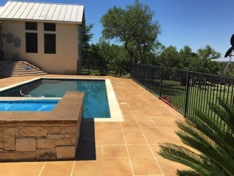 austin texas pool deck resurfaced concrete overlay tape pattern