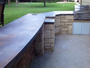 bronze metal outdoor patio concrete countertop