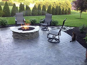 outdoor kitchens concrete patio fire pit