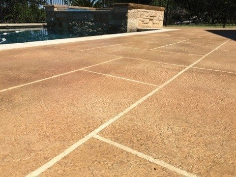 Close-Up Pool Deck Tape Concrete Overlay