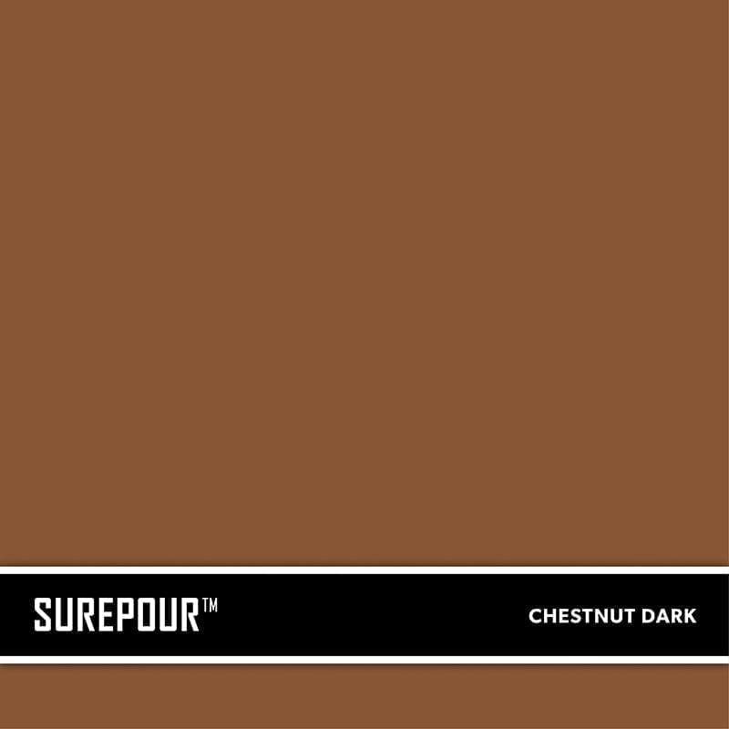 SureCrete's SuerPour™ Dark Chestnut Brown Ready-Mix fresh concrete color SKU: 35103008-74 UPC: 842467100769 (Requires 2 Bag / 1 Yard)