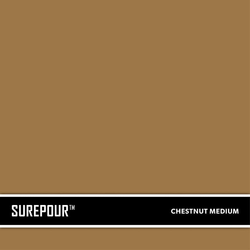 SureCrete's SurePour™ Medium Chestnut Brown Ready-Mix fresh concrete color SKU: 35103008-74 UPC: 842467100752 (Requires 1 Bag / 1 Yard)