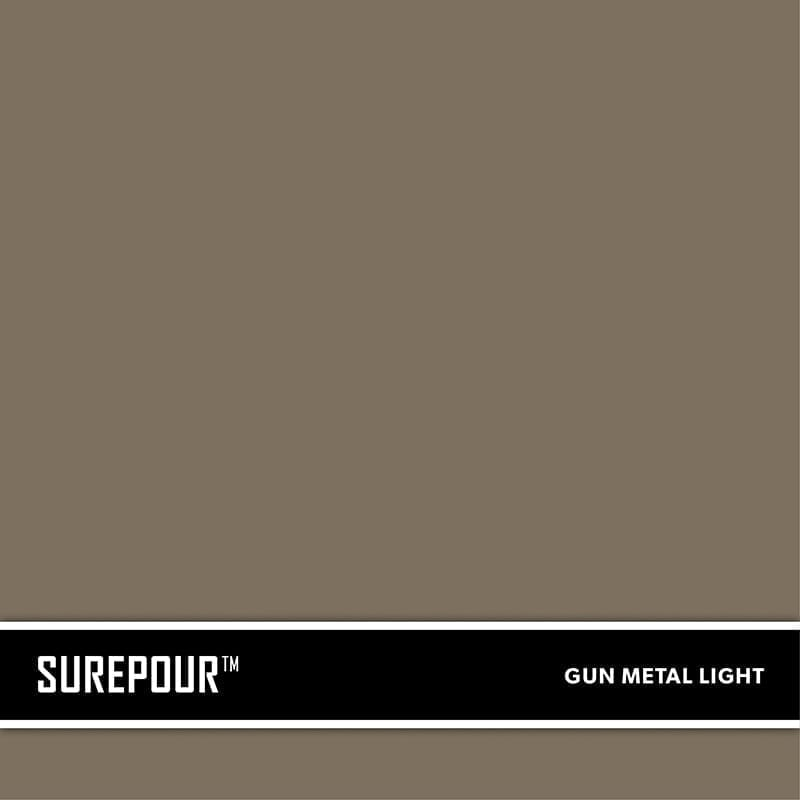 SureCrete's SurePour™ Light Gun Metal Gray Ready-Mix fresh concrete color SKU: 35103009-81 UPC: 842467100776 (Requires 1 Bag / 2 Yard)