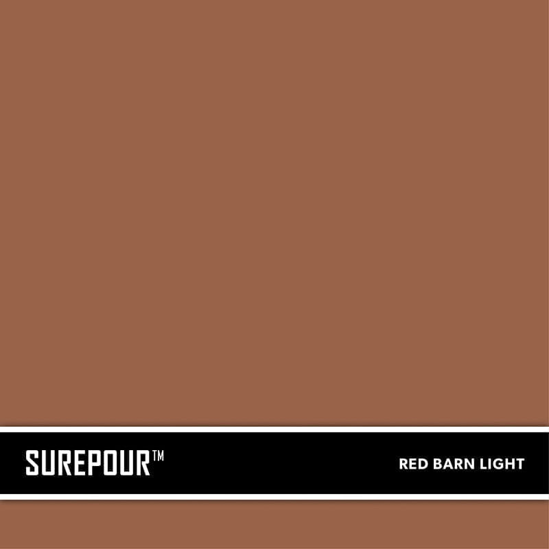 SureCrete's SurePour™ Red Barn Light. Ready-Mix fresh concrete color SKU: 35103008-85 UPC: 842467100806 (Requires 1 Bag / 2 Yard)