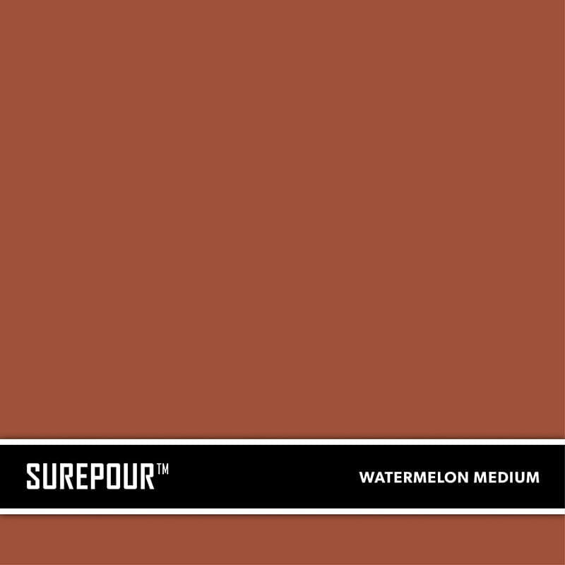 SureCrete's SurePour™ Watermelon Medium Ready mix fresh concrete color SKU: 35103009-91 UPC: 842467100844 (Requires 1 Bag / 1 Yard)