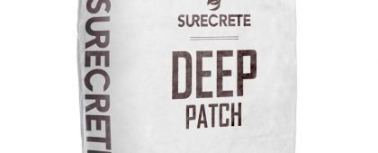 """Deep Patch™ is thick concrete repair product for patching large holes in concrete surfaces. SureCrete's thick cement filler is a single component, just add water cement based chemical patching compound system providing a patch that goes from 1/8"""" (0.32 cm) and up. Deep Level, prior name, offers superior self-bonding power to patch larger spalls in concrete floors, build ramps, repair loading docks, and parking lot pavement."""