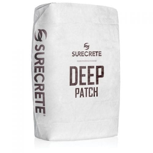 "Deep Patch™ is thick concrete repair product for patching large holes in concrete surfaces. SureCrete's thick cement filler is a single component, just add water cement based chemical patching compound system providing a patch that goes from 1/8"" (0.32 cm) and up. Deep Level, prior name, offers superior self-bonding power to patch larger spalls in concrete floors, build ramps, repair loading docks, and parking lot pavement."