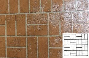 Finished Basket Weave Pattern Concrete Stencil