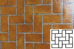 Finished Herringbone Pattern Concrete Stencil