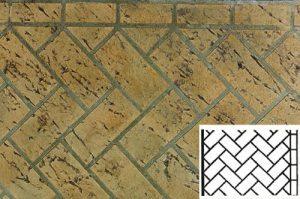 Finished Mock Herringbone Pattern Concrete Stencil