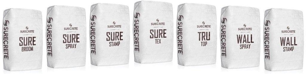 SureCrete Concrete Overlay Bag Mix Lineup surebroom, surespray, surestamp, trutop, trutex, wallspray, wallstamp